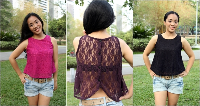 Max and Lily Cropped Lace Top at P170 each
