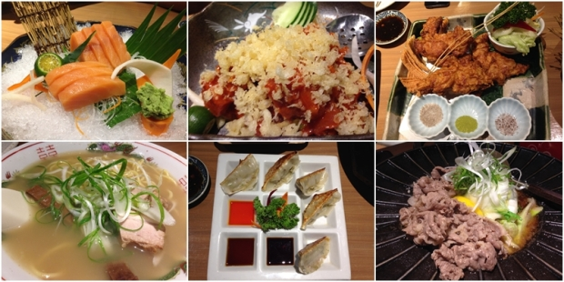 (L-R, clockwise):  Salmon Sashimi, Spicy Tuna Sashimi, Chicken Thigh Karaage with Three Kinds of Salt, Beef Sukiyaki, Pork Gyoza, Shio Ramen