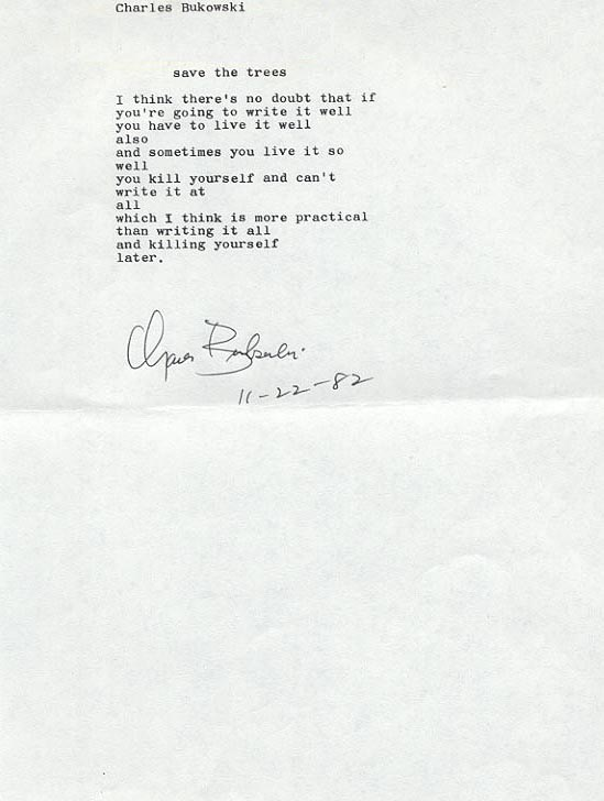 Charles Bukowski - Save the Trees