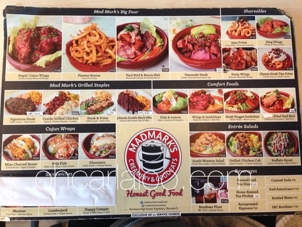 Mad Mark's Menu