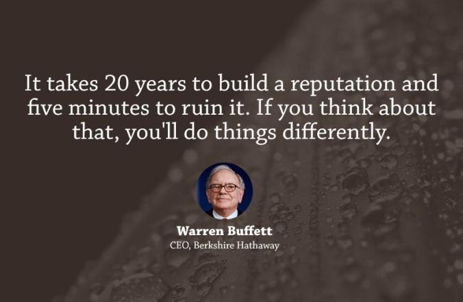 Warren Buffet - On reputation