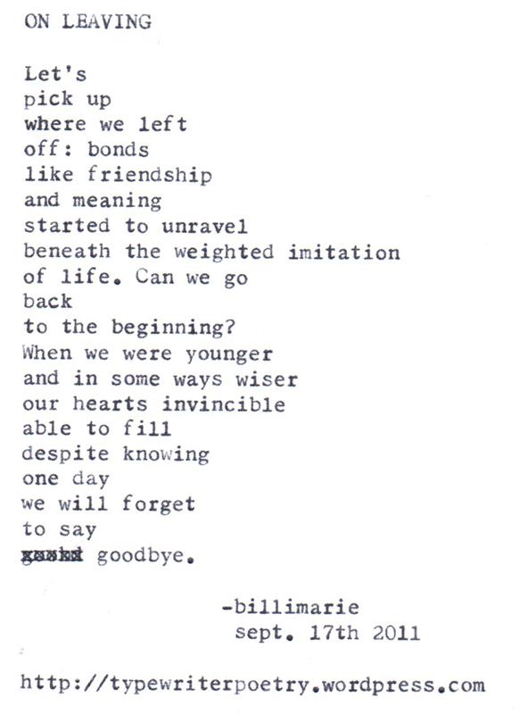 On leaving - Billimarie