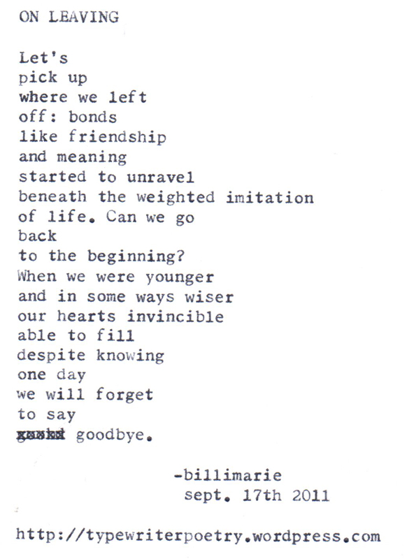 On leaving - Billimarie