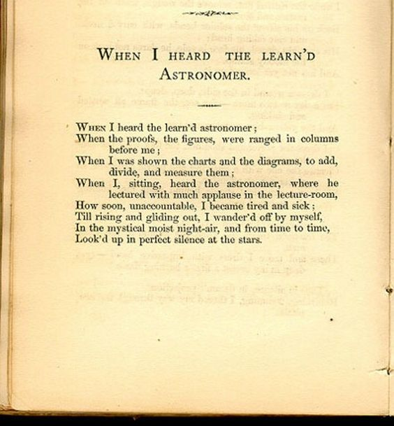 NPM 20160411 When I Heard the Learnd Astronomer - Walt Whitman